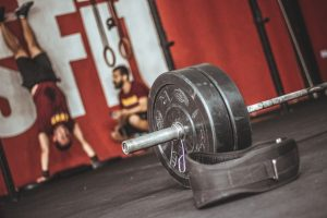 A barbell in a gym