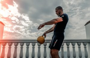 Man with a kettlebell