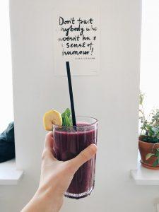 A purple fruit shake