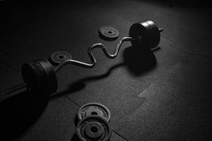 Weights on a gym floor