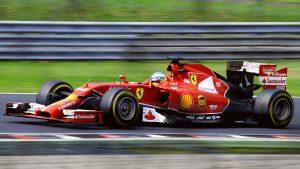 Formula 1 car racing in international sporting events