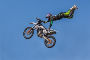 Motocross stunt in mid air