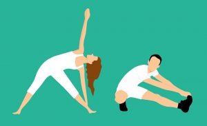 couple stretching as one of the couples workout ideas