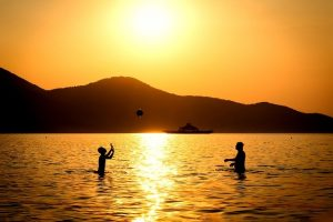 playing volleyball in the water