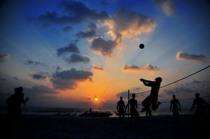 one of the biggest benefits of beach volleyball is playing with friends