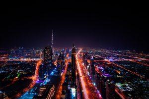 Night photo of Dubai