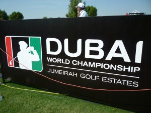 Dubai golf tournament sign