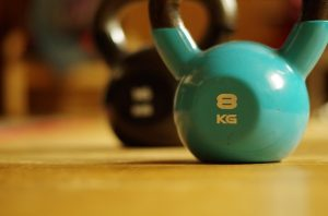 Close up of a kettlebell.