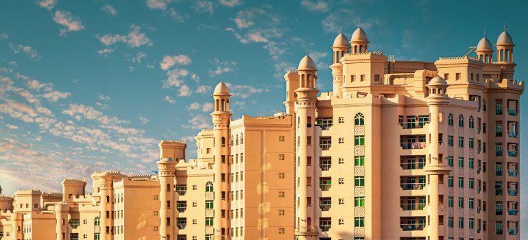 A row of buildings in Dubai.