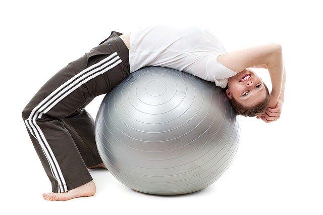 A women on a ball