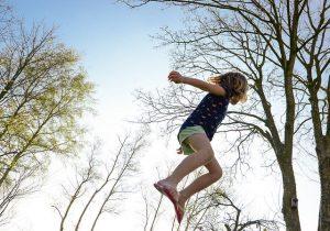 A kid jumping
