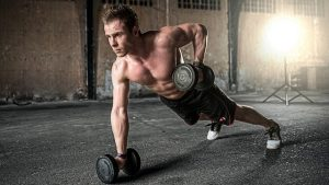 A man excercising with weights