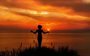 Jumping rope in a sunfall
