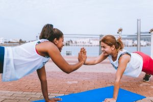Two girls working out