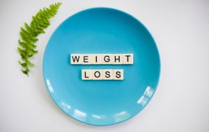 blue plate with letters weight lose