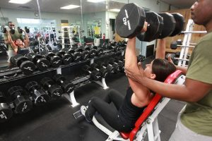 a woman with a spotter