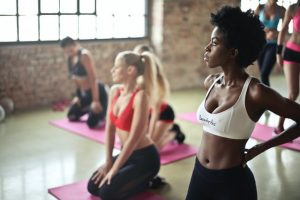 Women on a yoga class