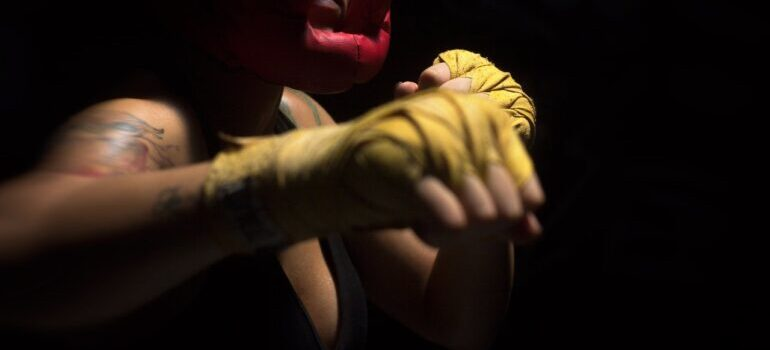 A woman practicing shadow boxing.