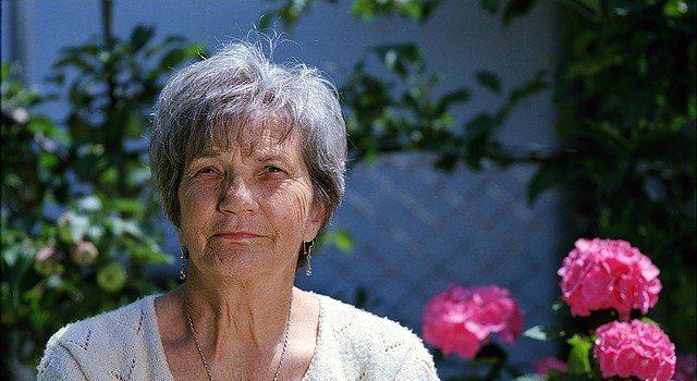 a woman in a garden