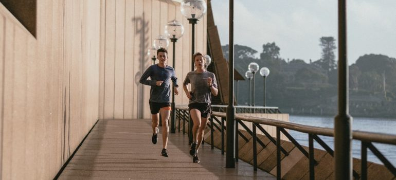 A couple running.