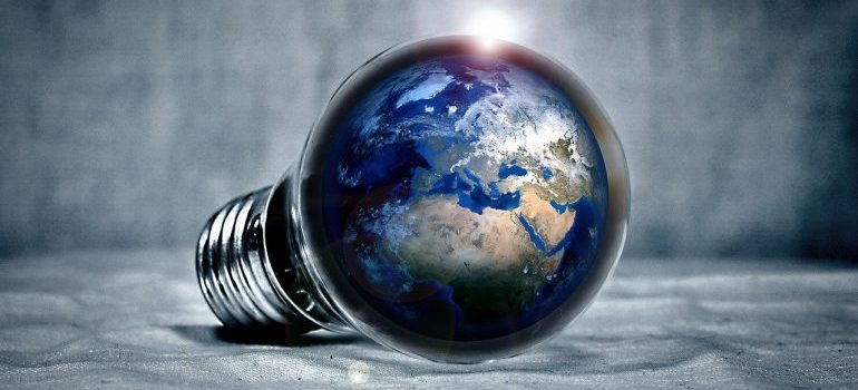 A lightbulb with a model of our planet in it.