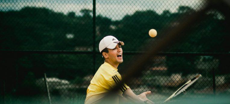 A man playing tennis.