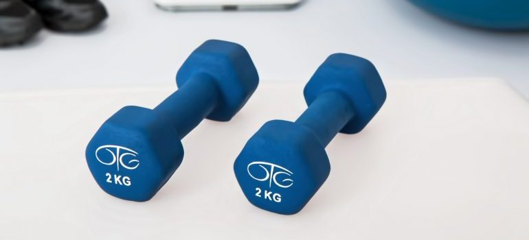 Two dumbbells for exercising at home during the pandemic