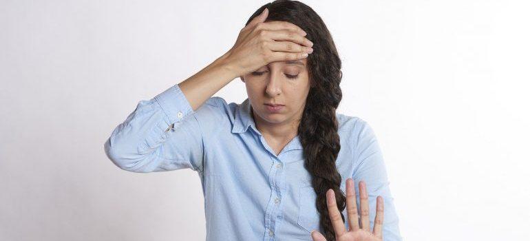 An upset woman.