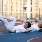 two women excercising