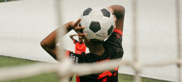 player holding a ball
