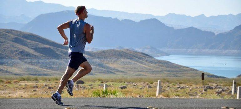 A man running outside.