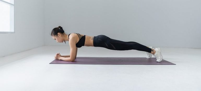 A woman planking.