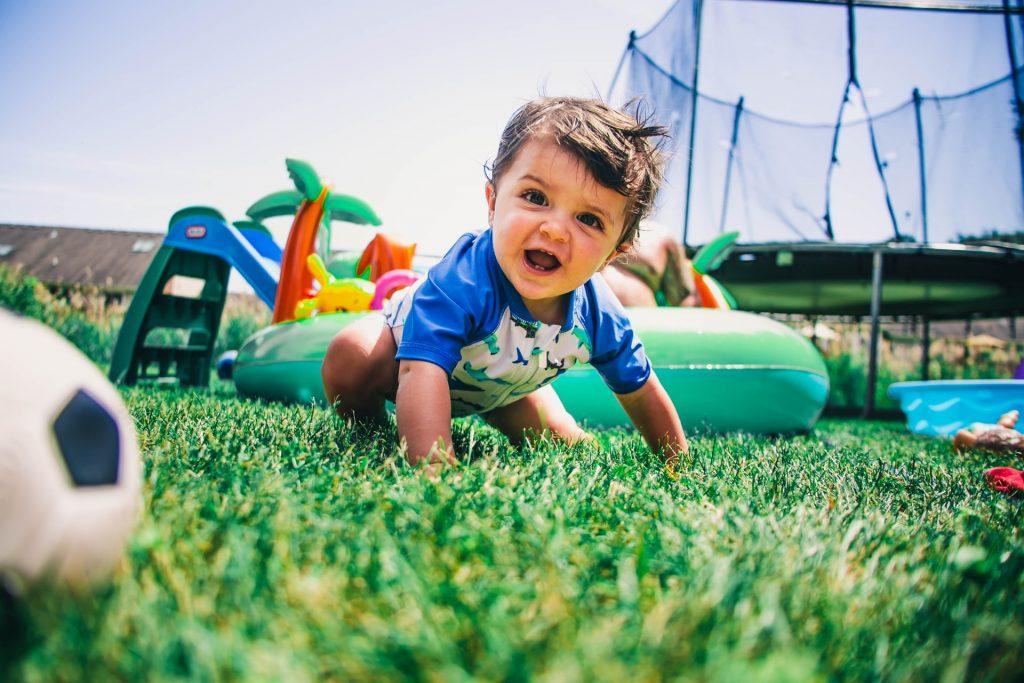 little boy on the grass