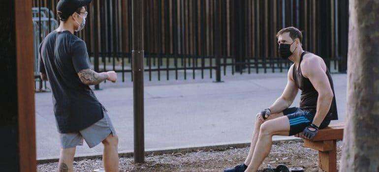Men in park exercising
