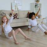 two little girl exercising