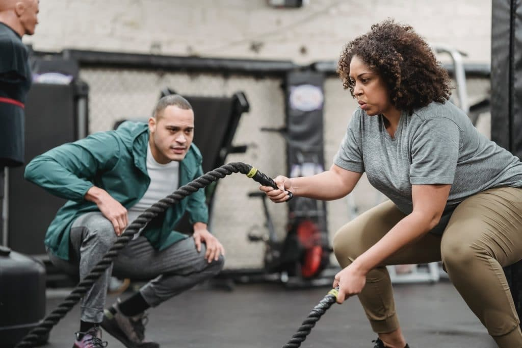 two people working out