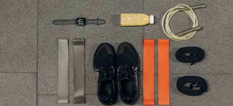 Exercise equipment on the floor
