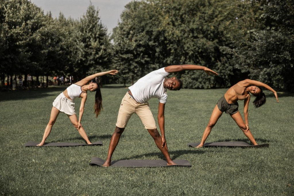 People exercising outside.