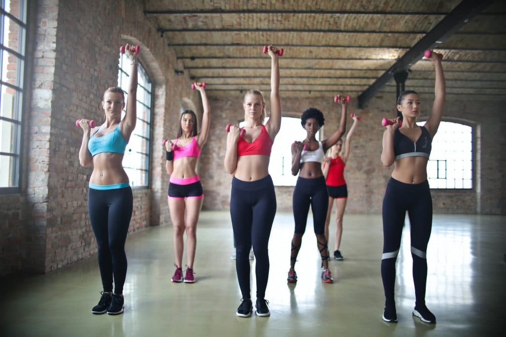 girls working out with weights
