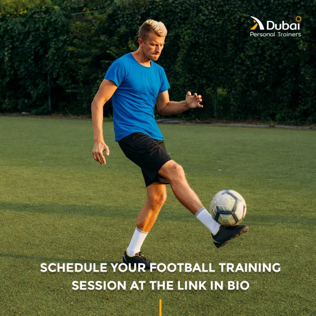Other than being a recreational and fun sport to play with friends, Football is also a great way to stay in shape and build muscle strength.⁣ Schedule your first complimentary training session with one of our personal trainers by following the link in bio.⁣ ⁣ #dubaipt #dubaipersonaltrainers #football #footballtraining #premiumtrainers #personaltrainers