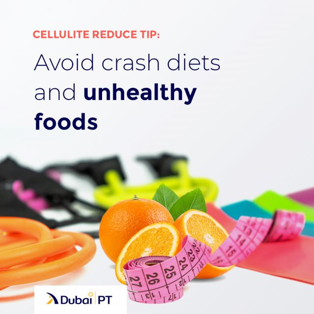 The popular crash diets (fast diets) are actually really bad for reducing cellulite because of their effect on muscle loss, while salt-heavy foods cause bloating and enhance the appearance of cellulite. So if your goal is to reduce cellulite, make sure you stay clear of those.⁣ ⁣ #cellulitereduce #diets #cellulitereducetips #diettips #dubaipt #dubaipersonaltrainers