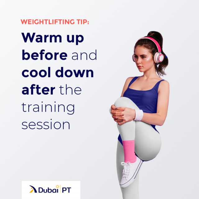 Warming up before the exercise will allow more oxygen to your bloodstream and allow your muscles to work without being sore at the end of the training session. The same importance goes for the cooling down routines as well. After you work out, you need to stretch your muscles to prepare them for rest after their tense state during the exercise.⁣ ⁣ #exercisetips #weightliftingtips #trainingtips #dubaipt #dubaipersonaltrainers